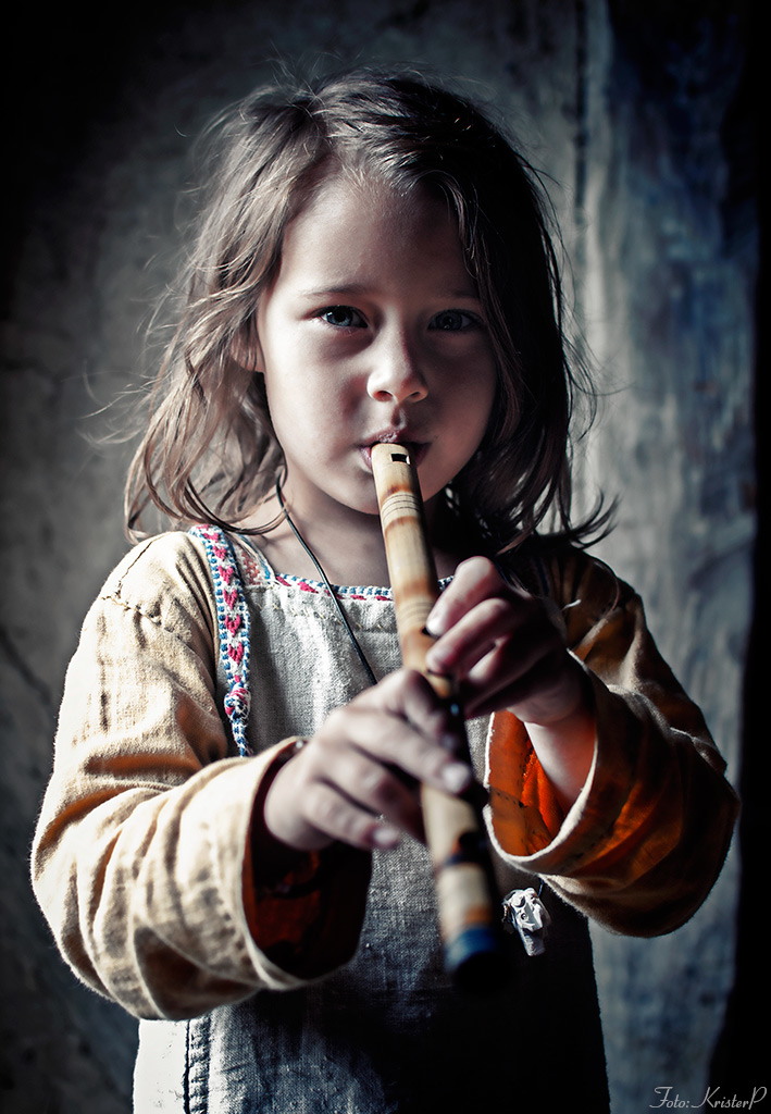 untitled portrait of girl with a flute
