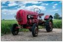 RED Old Porsche vintage tractor