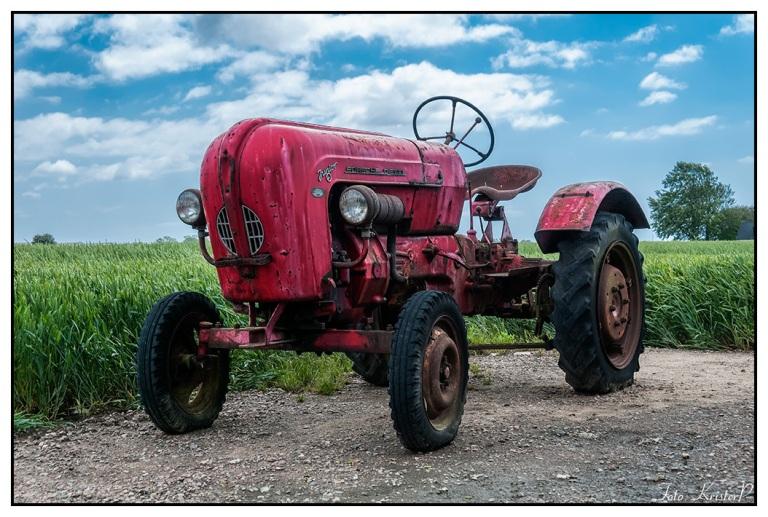 RED: Old vintage Porsche tractor